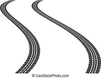 clip art illustration of tire tracks