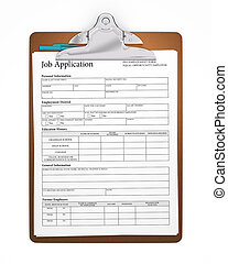 Clipboard holding a job application form with a stick pen tucked behind the clip. Sharp focus. Includes pro clipping path.