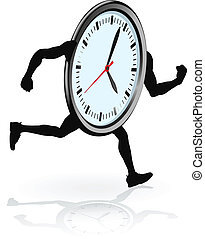 A clock character running. Concept for running out of time or work life balance.