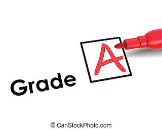 close-up look of A grade over exam paper