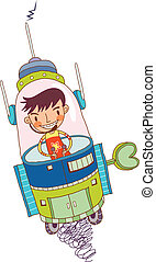 Close-up of boy sitting in rocket