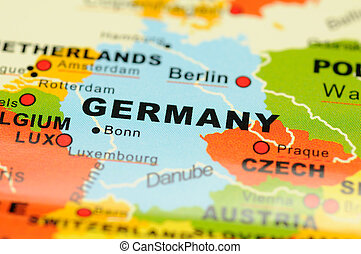 Close up of Germany on map