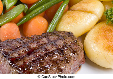 a close-up picture of a steak dinner