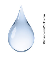 close-up of water drop isolated on white