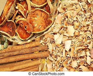 close up dry seasoning in basket, Thailand