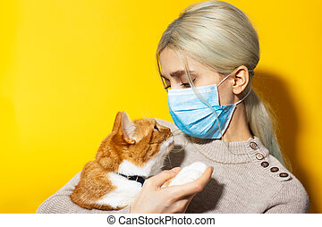 Close-up studio portrait of young girl, veterinar with red white cat in hands, wearing medical mask on yellow background. Look into each other's eyes.