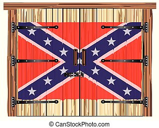 Closed Barn Door With Confederate Flag