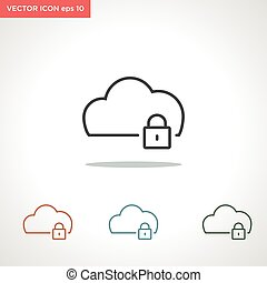 cloud vector line icon isolated on white background