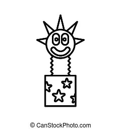 Clown jumping out from a box icon, outline style
