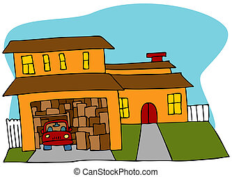 An image of a garage crowded with boxes and a car.