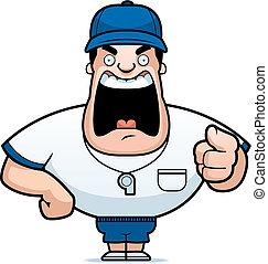 A cartoon coach yelling.