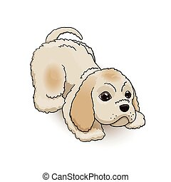 Cocker Spaniel Puppy Cartoon Character Playing. Dog Vector Illustration