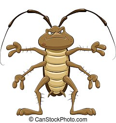 Cartoon cockroach on a white background, vector illustration
