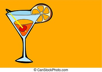 cocktail drink in simple but bold drawing style
