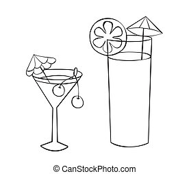 Two glasses of drinks with umbrellas and fruit. Outline drawing