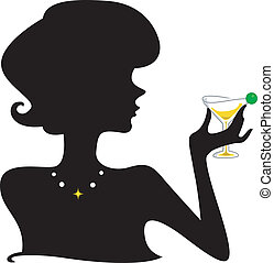 Silhouette of a Girl Holding a Wineglass