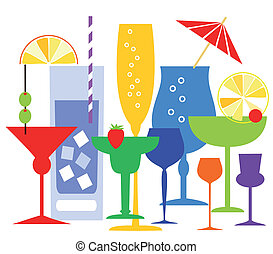 Colorful coctails glasses with some drinks and alcohol. File included Eps v8 and 300 dpi JPG