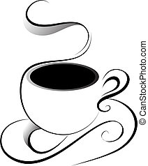 Artistic vector illustration of cup of coffee