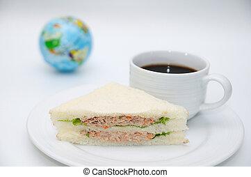 Coffee break set, Tuna sandwiches and americano.