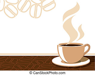 Coffee cup with aroma steam on a background with coffee beans, vector illustration.