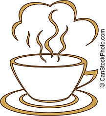 Coffee cup with fragrant steam. Morning, a breakfast, good joyful day