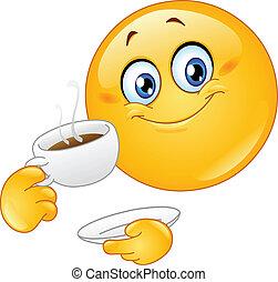 Emoticon drinking coffee