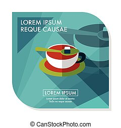 coffee flat icon with long shadow, eps10