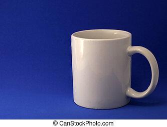 Coffee mug on blue background.