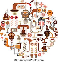 Coffee Making - round shape. Isolated vector illustration on white background.