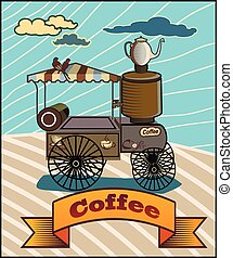 Coffee. Retro banner with a cup of coffee and car