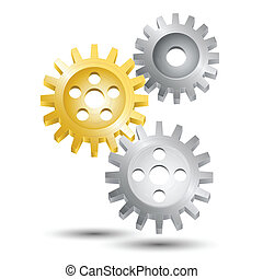 Metal cog wheel gear steel machine clock engine mechanism emblem vector illustration