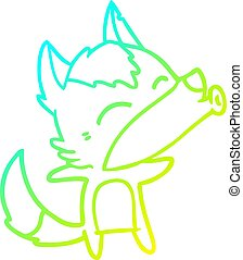 cold gradient line drawing cartoon howling wolf