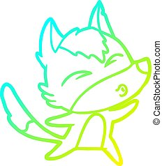 cold gradient line drawing cartoon wolf howling