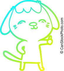 cold gradient line drawing happy cartoon dog giving thumbs up sign