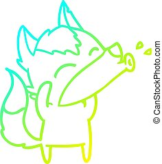 cold gradient line drawing howling wolf cartoon