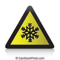 Cold Warning Triangular Sign illustration design over white