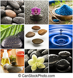 Beautiful colorful zen like collage made from nine photographs