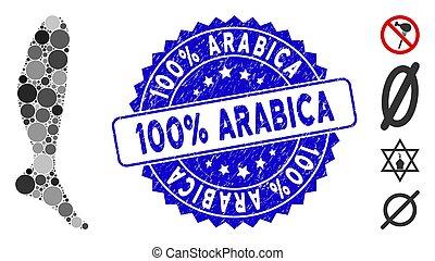 Collage Leg Icon with Grunge 100% Arabica Stamp