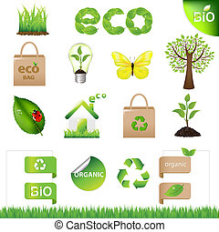 18 Eco Design Elements And Icons, Isolated On White Background, Vector Illustration