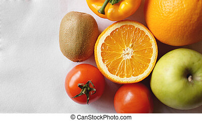 Collection fruits and vegetables on a white background