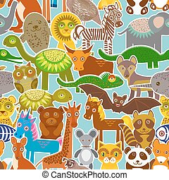 collection Funny cartoon Animals seamless pattern on blue background. Vector