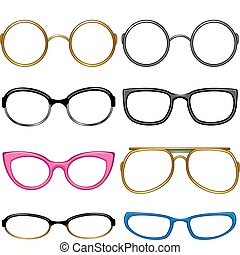 Collection glasses for every taste!. Simply dress them on the nose! EPS 8, AI, JPEG