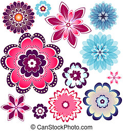 Collection abstract flowers for design (vector EPS 10)
