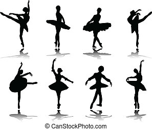 Collection of ballerinas with reflection silhouette - vector