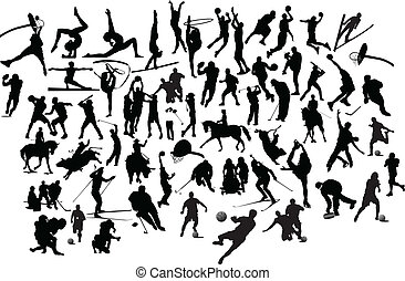 Collection of black and white sport silhouettes. Vector illustration