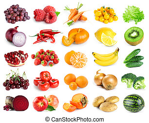 Collection of color fruits and vegetables on white background