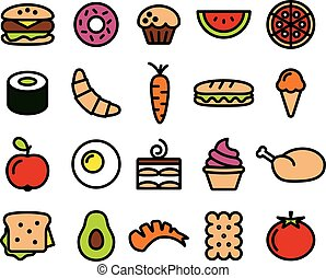 collection of colourful food icons