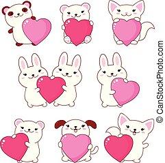 Set of cute animals baby - polar bear, panda, dog, bunny, cat. With pink and red shiny Valentine hearts kawaii style. EPS8