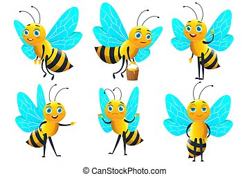 Collection of cute bee. Character set