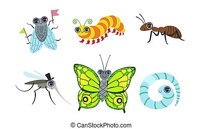 Collection of Cute Funny Cartoon Insects Set, Fly, Ant, Mosquito, Butterfly, Caterpillar, Worm Vector Illustration